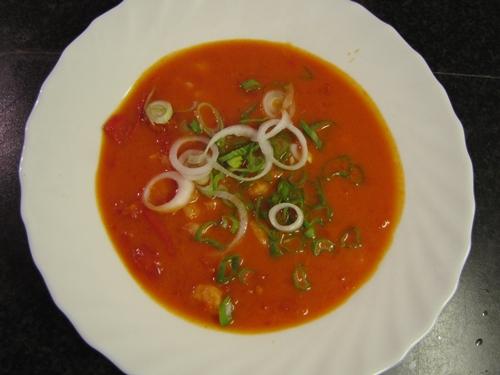 Tomatensuppe Garnelen
